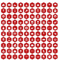 100 bounty icons hexagon red vector