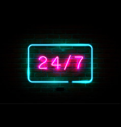24 on 7 pink glowing neon signboard vector image