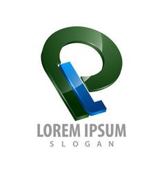 3d initial letter pl logo concept design symbol vector image