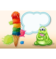 A fat monster eating a spiral lollipop near the vector image vector image
