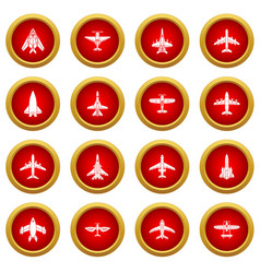 airplane top view icons set simple style vector image