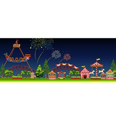 Amusement park scene at night vector