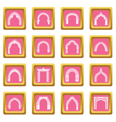 arch types icons set pink square vector image