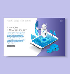 artificial intelligence landing page website vector image