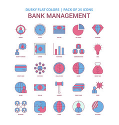 bank management icon dusky flat color - vintage vector image