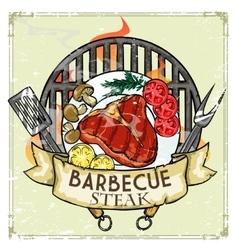 BBQ Grill label design - Steak vector image