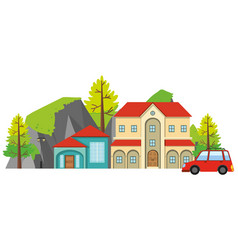big house with red car in front vector image