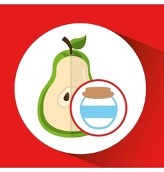 Big jar jam pear icon design vector