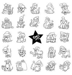 Black and white christmas cartoons set vector
