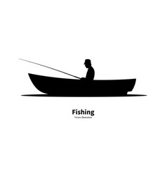 Black silhouette a fisherman sitting in a boat vector