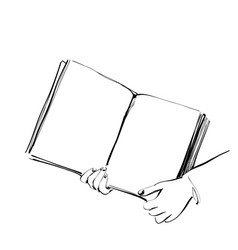 book in the hands sketching hand drawn vector image