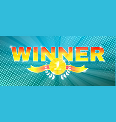 Bright winner theme banner with medal vector