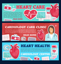 Cardiology medicine banner for heart health clinic vector