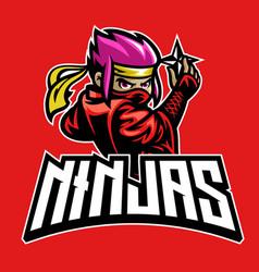 cartoon ninja mascot hold shuriken weapon star vector image