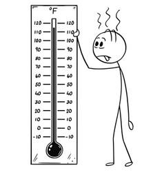 Cartoon of man holding fahrenheit thermometer vector