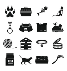 Cat care tools icons set simple style vector