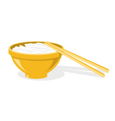 Chinese chopsticks and plate with rice or noodles vector