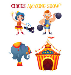 Circus cartoon characters vector