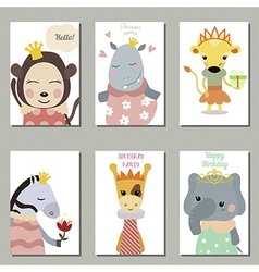 Collection of cute birthday cards vector