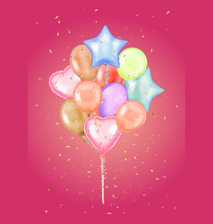colorful bunch birthday balloons flying vector image