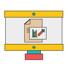 computer with company document and statistics vector image