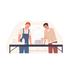 construction engineer and foreman in hard hat vector image