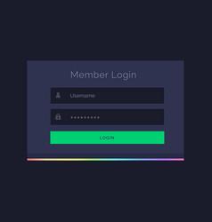 dark member login form design template vector image