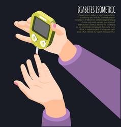 Diabetes diagnostics isometric background vector