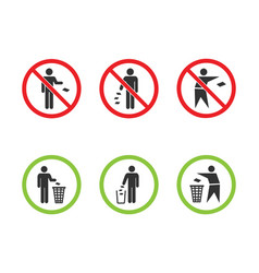 Do not litter signs set keep clean icons vector