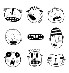Doodle Heads and Outline Cartoon Monster Face vector