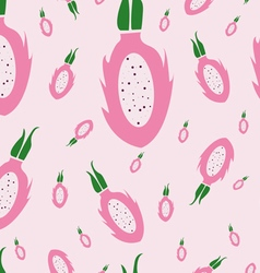 Dragon fruit pattern pink background vector
