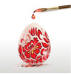 Easter egg with red floral ornament vector