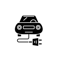 electric car black icon sign on isolated vector image