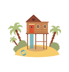 elevated wooden beach house on piling stilts vector image