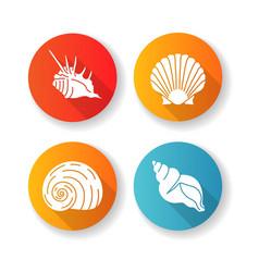 exotic sea shells flat design long shadow glyph vector image