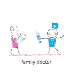 family doctor treats her mother with a child vector image