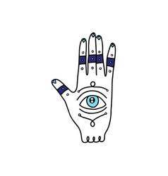 Fatimas hand or hamsa with evil eye cartoon icon vector