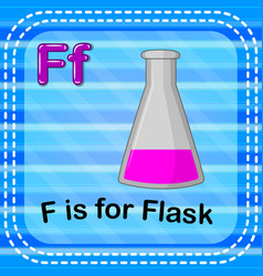 Flashcard letter f is for flask vector