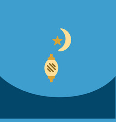 Flat icon on square arabic latern with moon vector