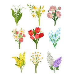 Flat set cute spring bouquets beautiful vector