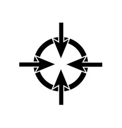 four arrows pointing the center of a circle icon vector image