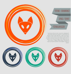 fox icon on red blue green orange buttons vector image