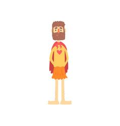 Freak bearded man character in funny superhero vector