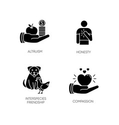 Friendly support black glyph icons set on white vector