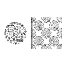 fruit doodle hand drawn set and seamless pattern vector image