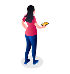 girl with smartphone icon isometric style vector image