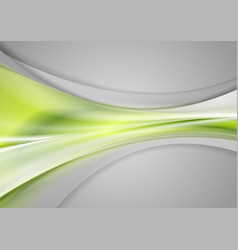 Green and grey abstract smooth blurred waves vector