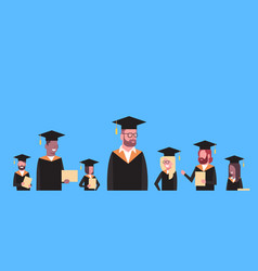 group of mix race students in graduation cap and vector image