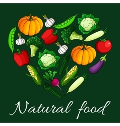 Heart vegetables flat icons Natural food emblem vector image