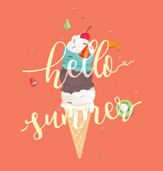Hello summer icecream cone colorful background vector